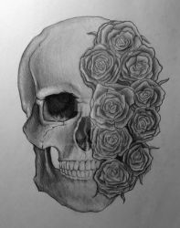 Roses over your skull by 9sanna7