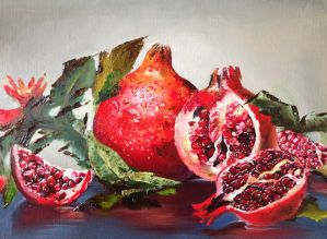 Pomergranate   (painting for sale) by Chris-Tin-A