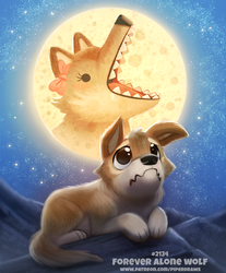 Daily Paint 2134. Forever Alone Wolf by Cryptid-Creations