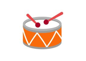 Orange Flat Drum With Red Drumsticks by superawesomevectors