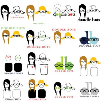 doodle bots logo variations by 7Lady7Maria7