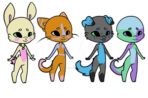 Open mixed adoptables 2/4 by InkyFoxes