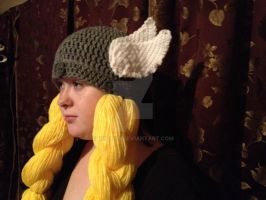 Valkyrie helm with wings and blonde braids by Drgibbs
