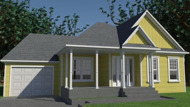 Yellow house bungalow by GabrielAuger