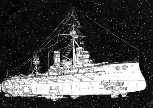 HMS Dreadnought in space by JanBoruta