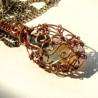 Multicoloured seaglass wirework pendant necklace by Cre8tivedesignz