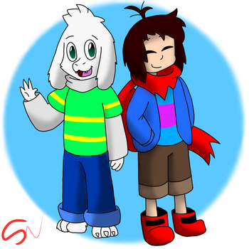 Asriel and Frisk Endertale by theragecrazy123