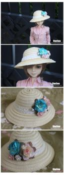 Summer Floral Hat for BJD by SheCow