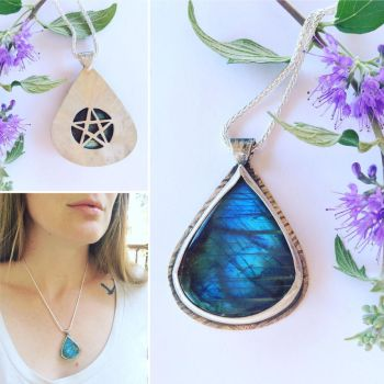 Labradorite Hidden Pentagram Necklace  by MoonLitCreations