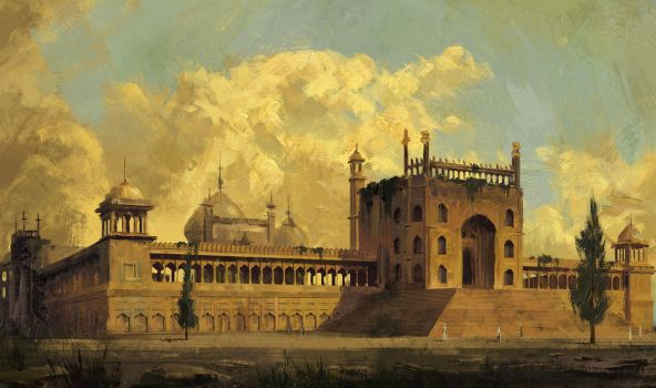 Jama Masjid Study in Hubert Robert technique by Lac-Tic