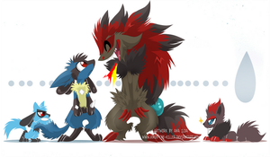 Lucario and Zoroark, ouch... by SoftMonKeychains
