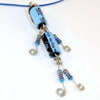 Lucky Capacitor and Resistor Robot Necklace by Techcycle