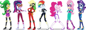 Equestria Girls Power Ponies Vectors by icantunloveyou