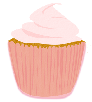Pink Frosted Cupcake Clip Art by Wisp-Stock