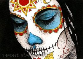 Day of the Dead Girl Three ATC by TempestErika