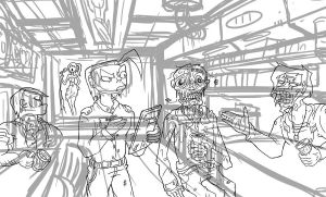 Unfinished bar scene by LutesWarmachine
