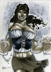 Barwench Dungeon Dolls Sketch Card by RichardCox