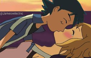 Ash and Serena kiss (Sunset) by Jamesvelectric