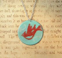 Cardinal's Flight Hand Torched Enamel Necklace by FusedElegance