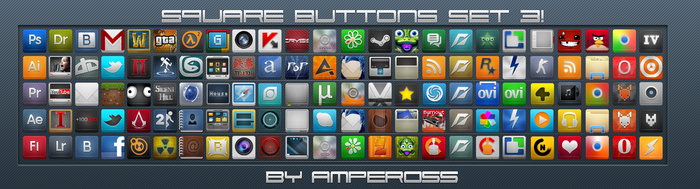 Square Buttons Set 3 by Ampeross