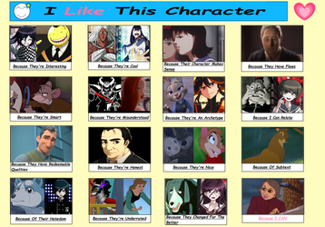 I Like This Character Meme Filled Out (Version 1?) by Duckyworth