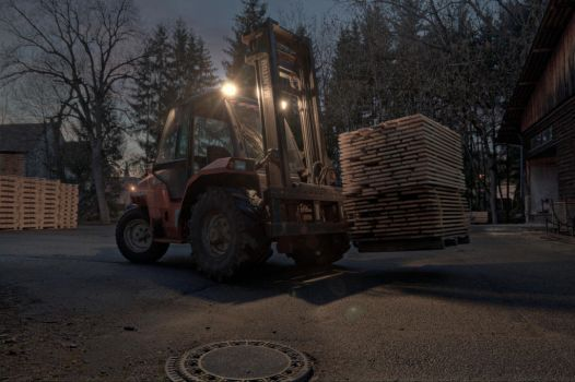 Forklift at night by sinawali