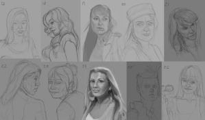 Female Head studies 17-26 by Luka87