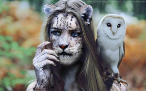Girl and Owl by Rkelic