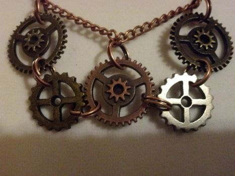Steampunk Gear Mini Key Double Strand Necklace by bookerboots
