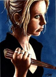 Buffy Wielding Stake by Dr-Horrible