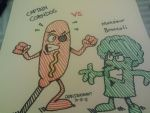 Captain Corndog vs. Monsieur Broccoli by GreenUnicornArt