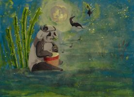 Dancing in darkness to the sound of Panda drum by Soukyan