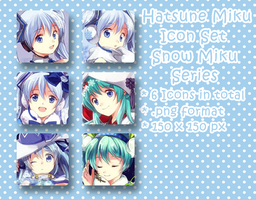 Hatsune Miku Icon Set - Snow Miku Series by XxXSickHeartKunXxX