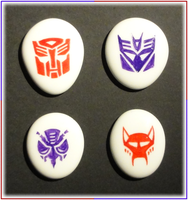 White Glass Engraved Transformers Insignias by ChimeraDragonfang