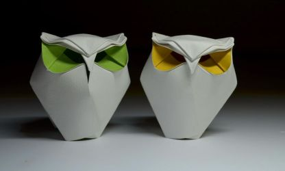 Origami chubby owls by HTQuyet