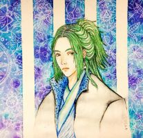 Watercolor: random guy w/ green hair by vt2000