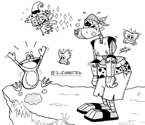 Rayman themed Inktober 2018 - #7 EXHAUSTED by ClaraKnight