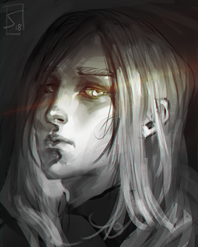 Quick portrait of a sad young man by sagasketchbook