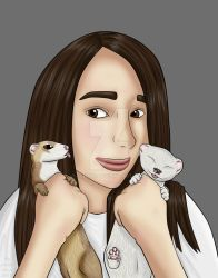 Woman with ferrets by Fennic