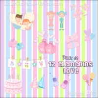 Pack Elementos Love by LauraClover