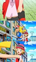 Ash Grab the hand of Serena's (Amourshipping) by WillDynamo55