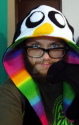 Gunter the penguin hooded scarf w/mittens by LetsAllBeNuerotic
