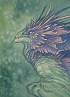 ACEO Flower Dragon Lavender by thedancingemu