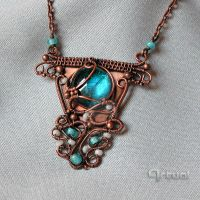 Copper pendant with blue glass cabochon by artual