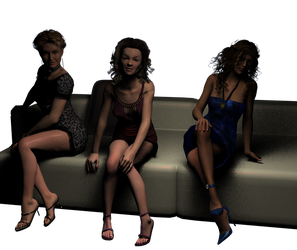 A fancy evening with the lasses (lighting check 1) by Coqatriz