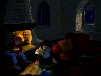 Gryffindor common room at night by gerre