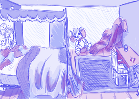 Jake's bedroom sketch by waywardJellyfish