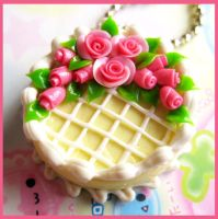 Rose Cream Cake Necklace by cherryboop