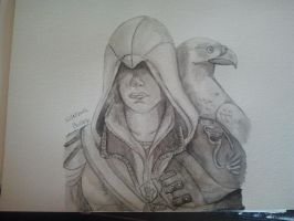 Assassins Creed Ezio Portrait Aquarelle by Zoey-01