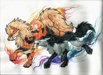 Collab: Arcanine and Mightyena by Napoisk
